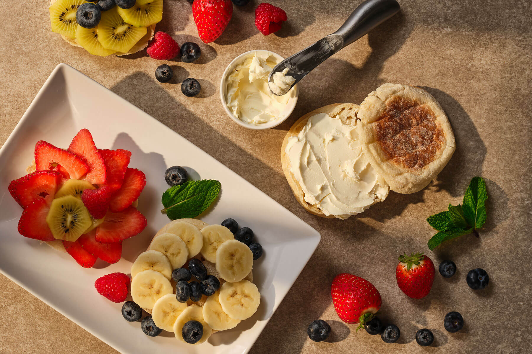 fresh fruit and baked goods