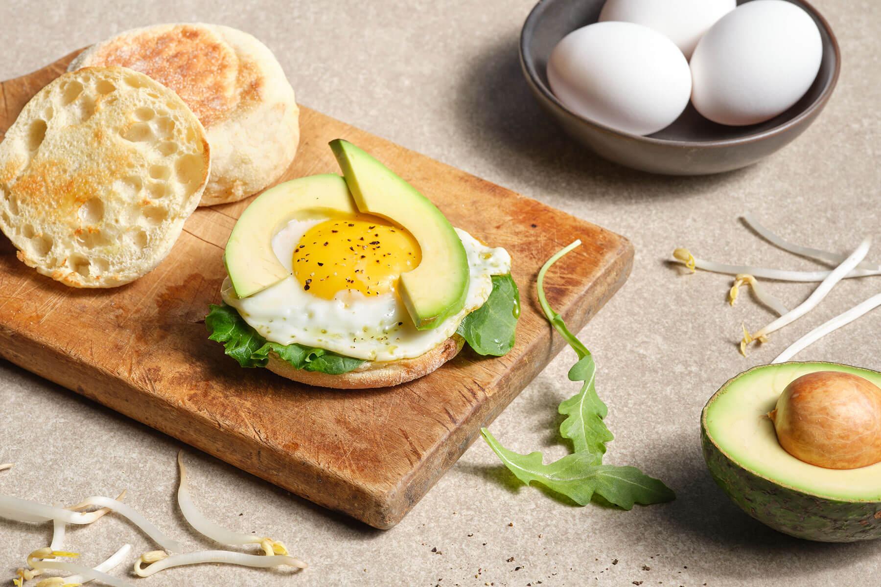 avocado on English muffin